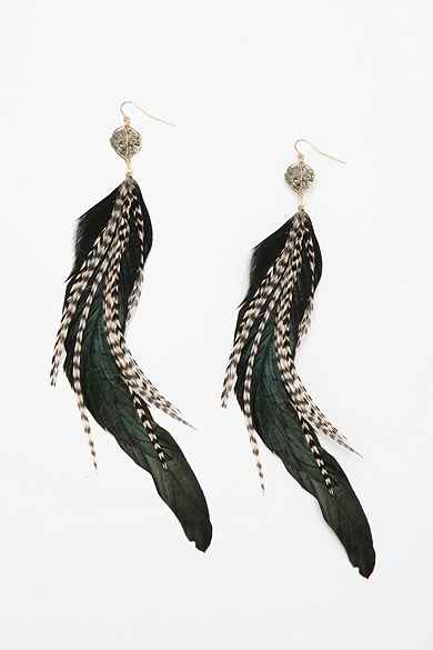Pyrite Feather Earring