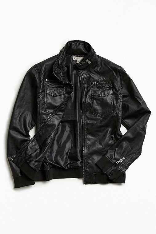 Faux-Leather Moto Jacket,BLACK,L