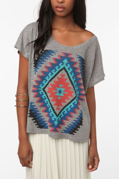 Title Unknown Techno Quilt Oversized Crop Tee