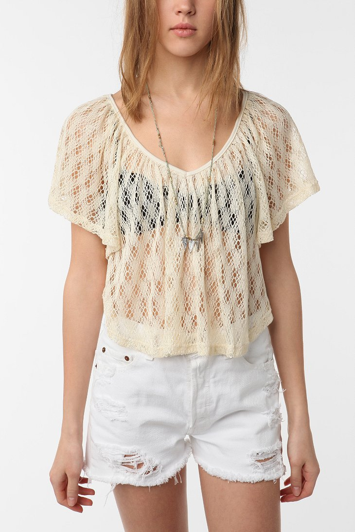 Staring at Stars - Crochet Flutter Sleeve Top from urbanoutfitters.com