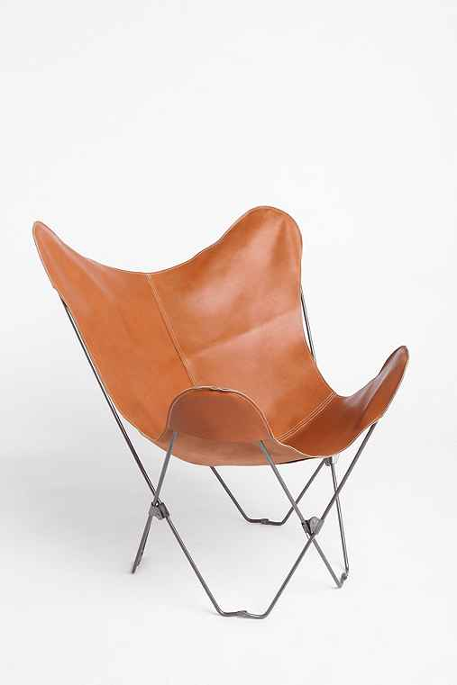 FashAndFurn Merchandise, A Simple Brown Leather Butterfly Chair