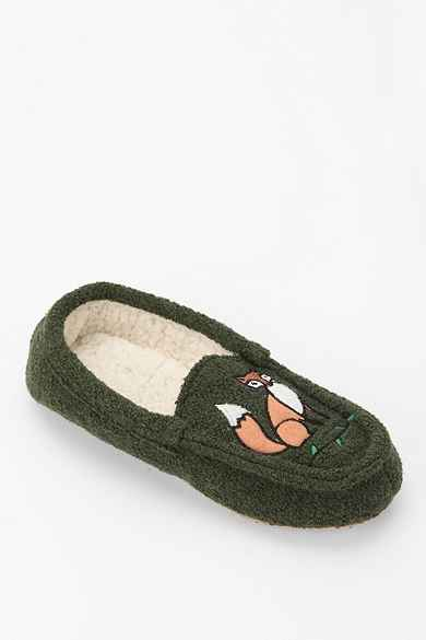 Green Fox Moccasin Slipper