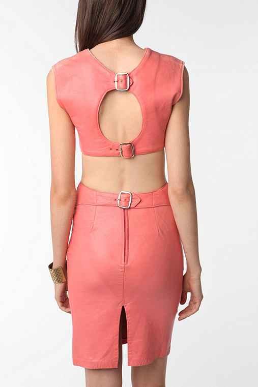 Vintage 80s Pink Leather Dress