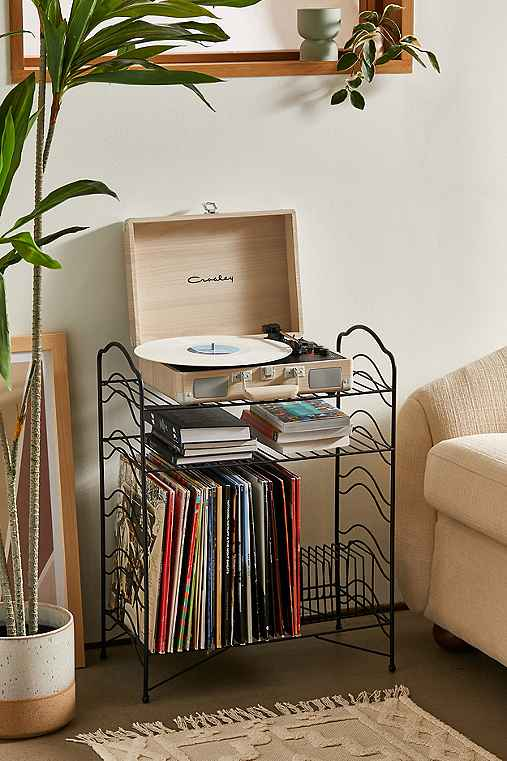 Vinyl Record Storage Shelf,BLACK,ONE SIZE