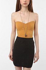 Sparkle & Fade Solid Zip-Back Strapless Top