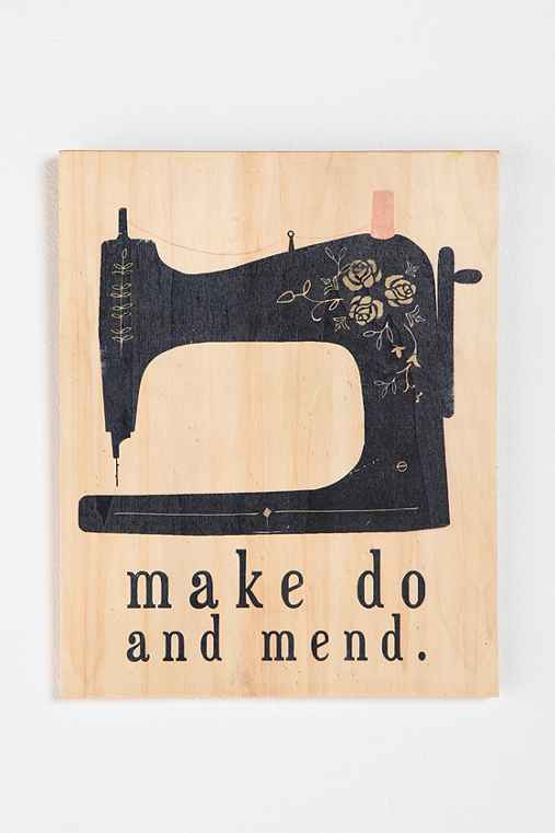 15x12 Make Do and Mend by Clare Owen Wood Print