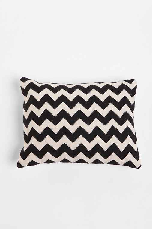 Throw Pillows Urban Outfitters : Crewel Embroidered Zigzag Pillow - Urban Outfitters