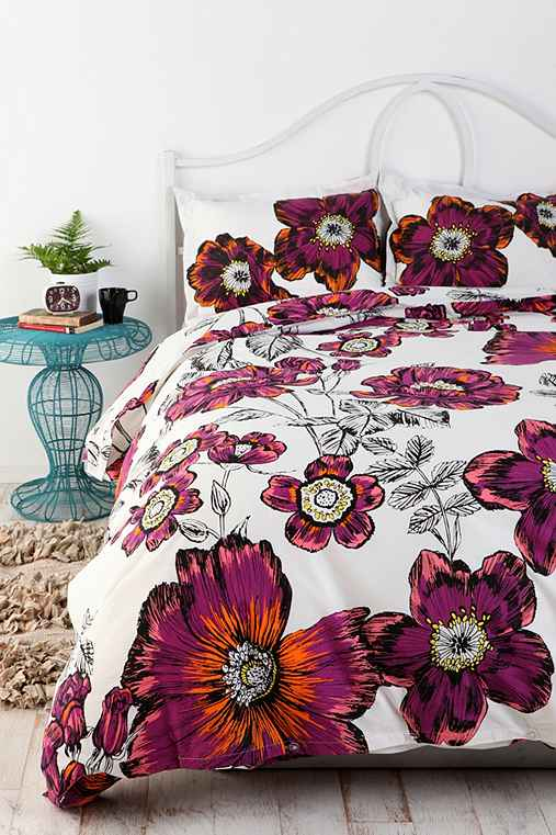 Sketchbook Floral Duvet Cover Urban Outfitters