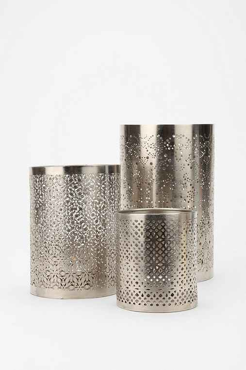 Punched Metal Candle Holder