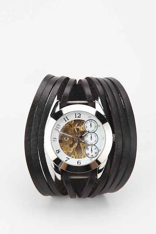 Exposed Gears Leather Watch