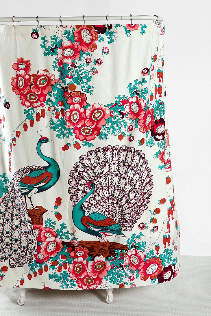 floral peacock shower curtain urban outfitters