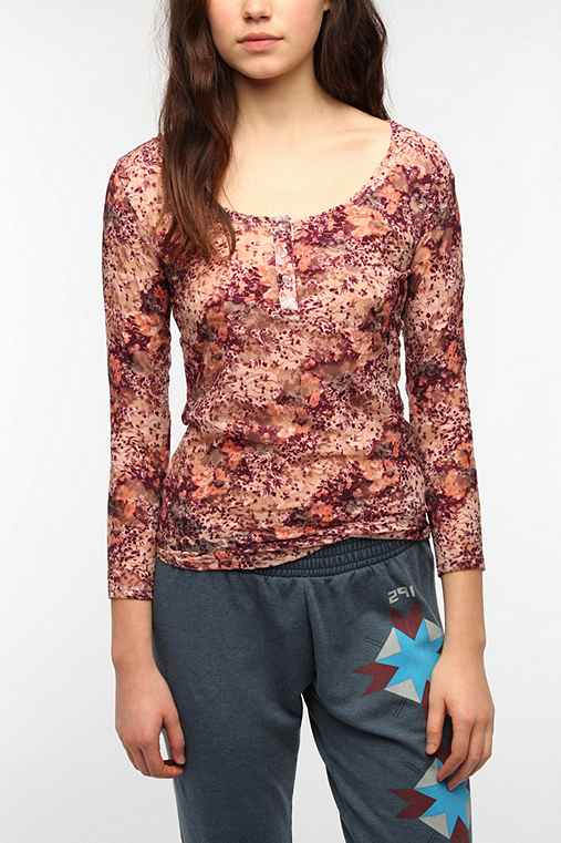 Pins and Needles 3/4 Sleeve Floral Lace Henley