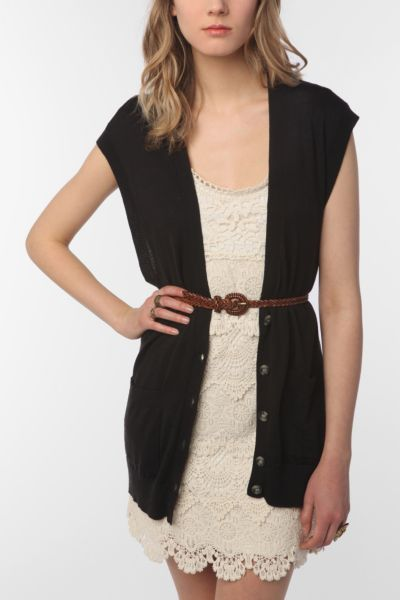 Sparkle & Fade Basic Sleeveless Cardigan