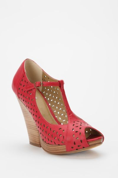 Kimchi Blue Perforated Leather T-Strap Heel