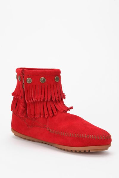 Minnetonka Fringe Zip Boot