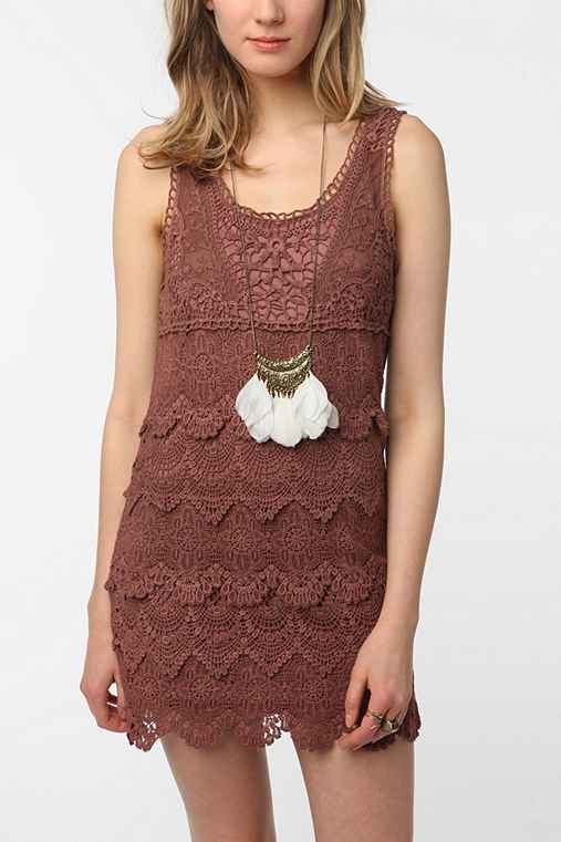 Staring at Stars Tiered Crochet Tank Top Dress