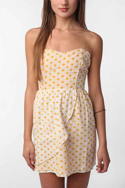 Coincidence & Chance Fruit Print Strapless Dress