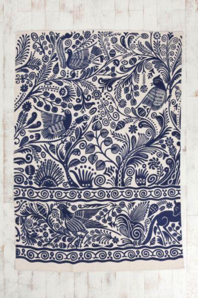 5x7 Batik Bird Handmade Rug