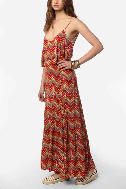 Ecote Knit Ruffle-Top Sand Art Maxi Dress