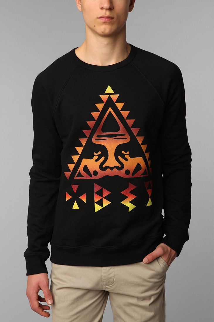 obey triangle crew neck pullover sweatshirt urban outfitters. Black Bedroom Furniture Sets. Home Design Ideas