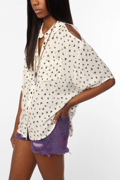 Silence & Noise Cold Shoulder Button-Down Shirt