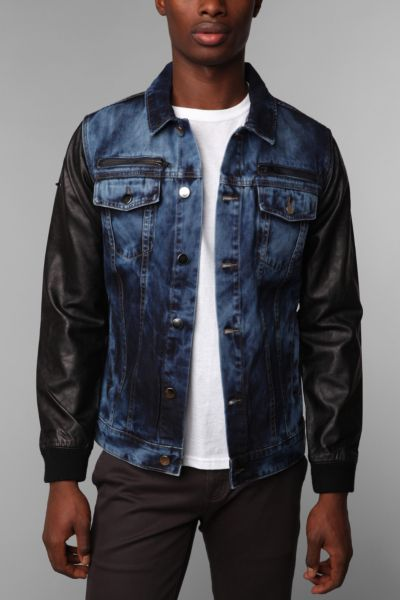 Black Apple Pleather Sleeve Denim Trucker Jacket