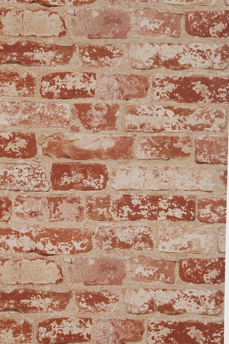 brick trompe loeil wallpaper urban outfitters. Black Bedroom Furniture Sets. Home Design Ideas