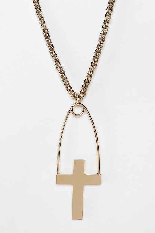 MariaFrancescaPepe Cross Shaped Safety Pin Necklace