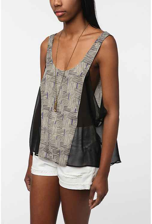 Silence & Noise Draped Sides Mixed Fabric Tank Top