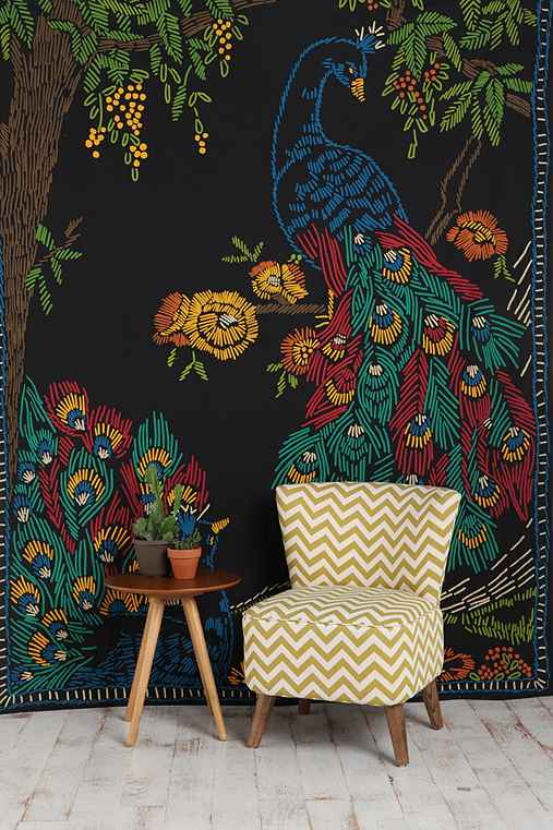 Peacocks and Trees Tapestry