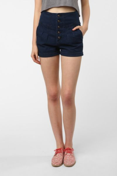 Pins And Needles High-Rise Button-Up Short
