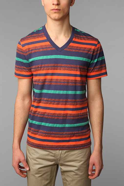 BDG Novelty Mocktwist Stripe V-Neck Tee