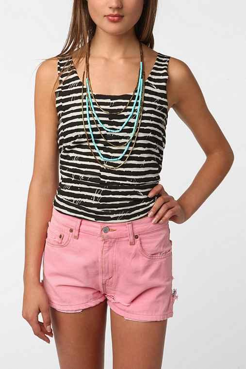 BDG Striped Shirttail Scoop Tank Top
