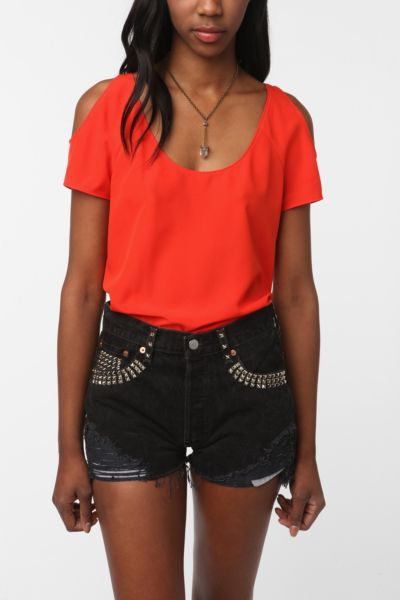 Sparkle & Fade Cold Shoulder Short-Sleeved Blouse