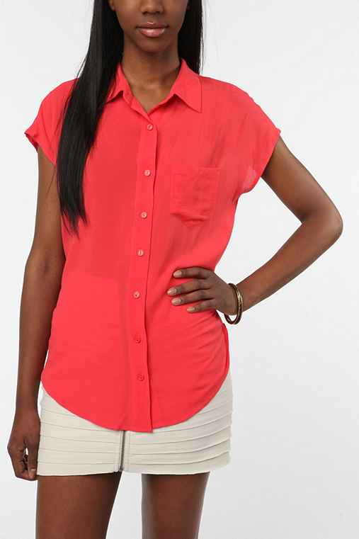 Lucca Couture Open Back Button-Down Blouse