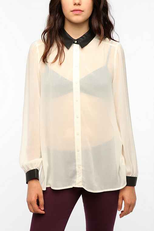 Sparkle & Fade Faux Leather Collar Blouse