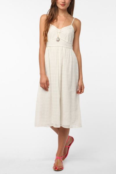 Cooperative Embroidered Stripe Midi Dress