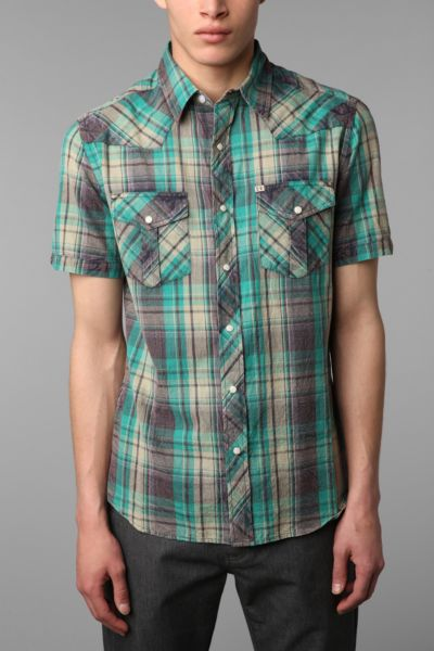 Salt Valley Short-Sleeved Gomez Acid Wash Western Shirt