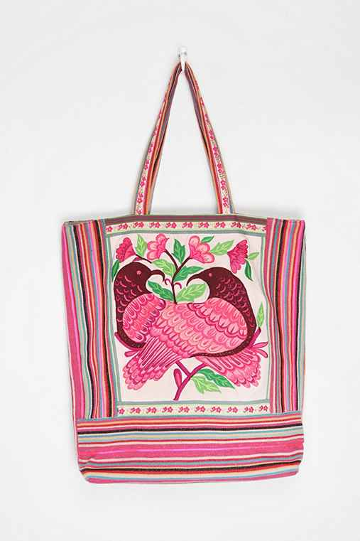 Ecote Kissing Birds Woven Tote Bag