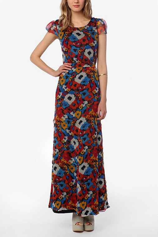 KNT By Kova & T Chiffon Floral Maxi Dress