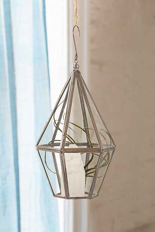 Faceted Hanging Terrarium,SILVER,ONE SIZE