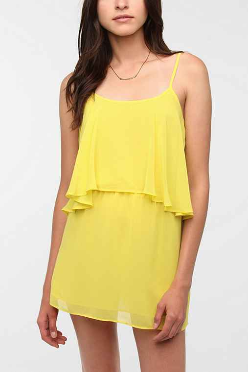 Lovers & Friends Chiffon Ruffle Open-Back Dress