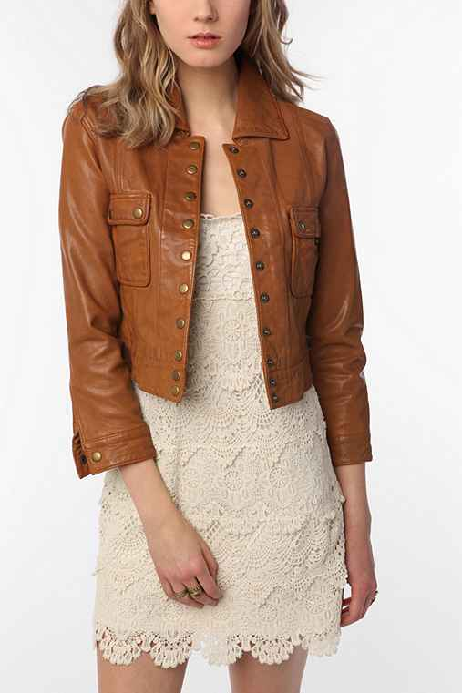 Member's Only Cropped Leather Jacket