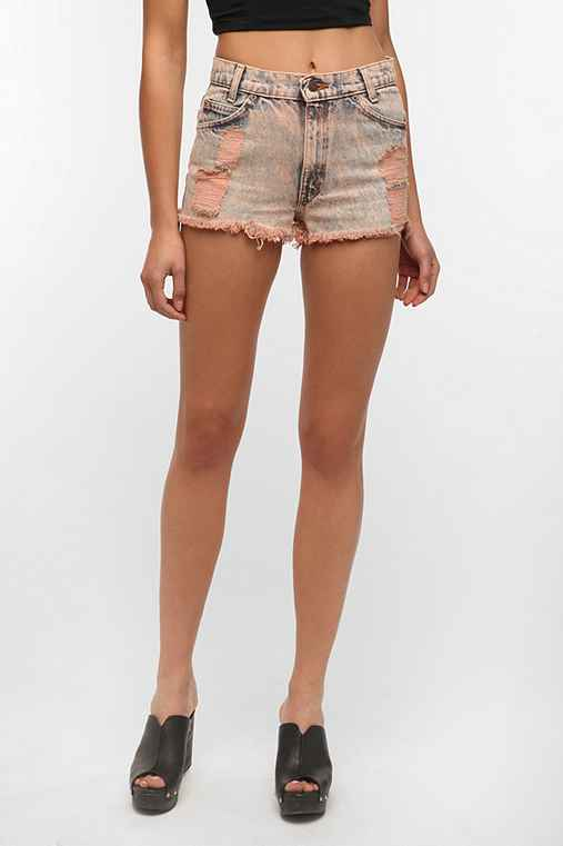 Urban Renewal Acid-Wash Destroyed Denim Short