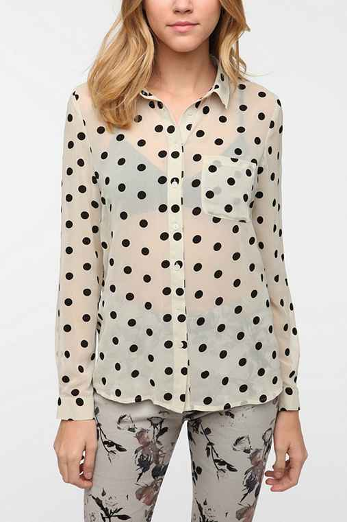 Pins and Needles Polka Dot Button-Down Blouse
