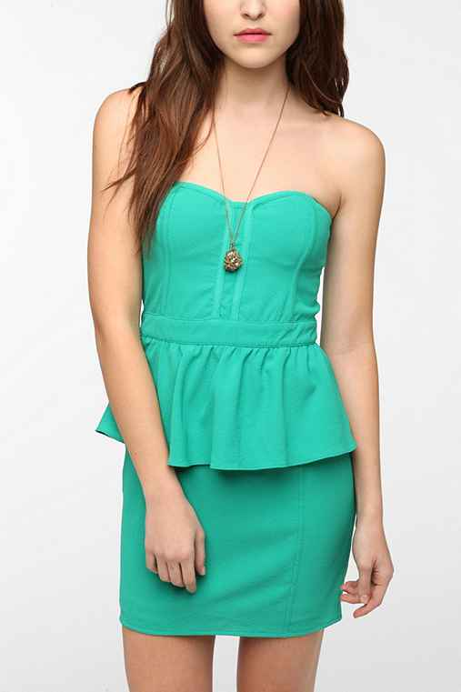 Pins and Needles Strapless Peplum Dress