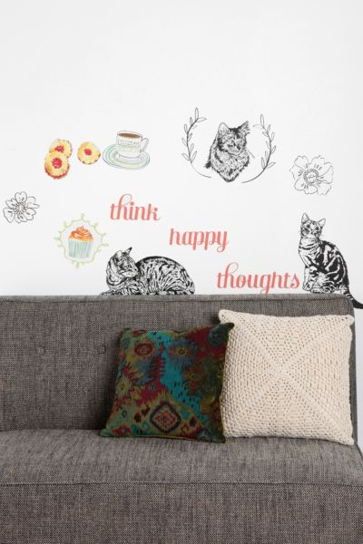 Cats And Happy Thoughts Wall Decal - Set Of 3