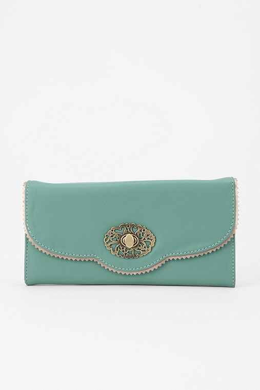 Kimchi Blue Scallop-Lace Checkbook Wallet: Teal One Size Womens Wallets