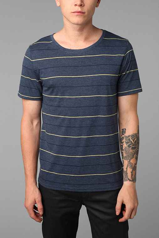 BDG 3-Color Pin Bar Stripe Wide-Neck Tee