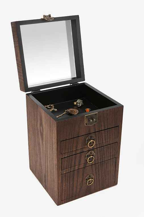 Thumbnail image for Wood Treasure Chest Jewelry Box